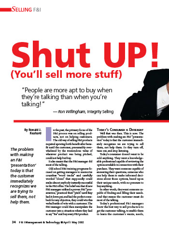 Shut Up! You'll Sell More Stuff Article