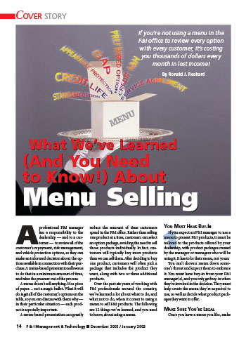 What We've Learned (And You Need to Know!) About Menu Selling Article